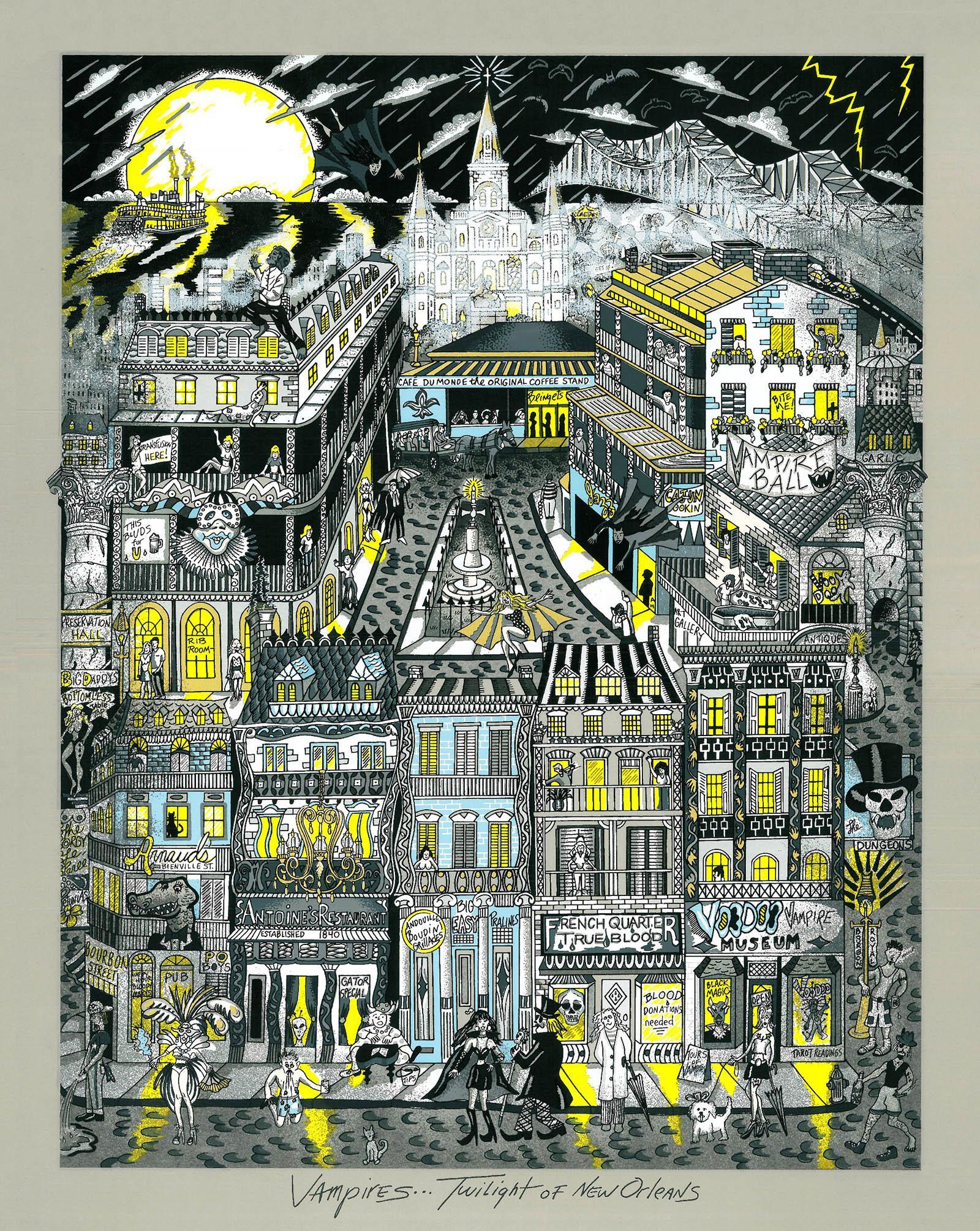 CHARLES FAZZINO Vampires twilight of New Orleans 78x68cm