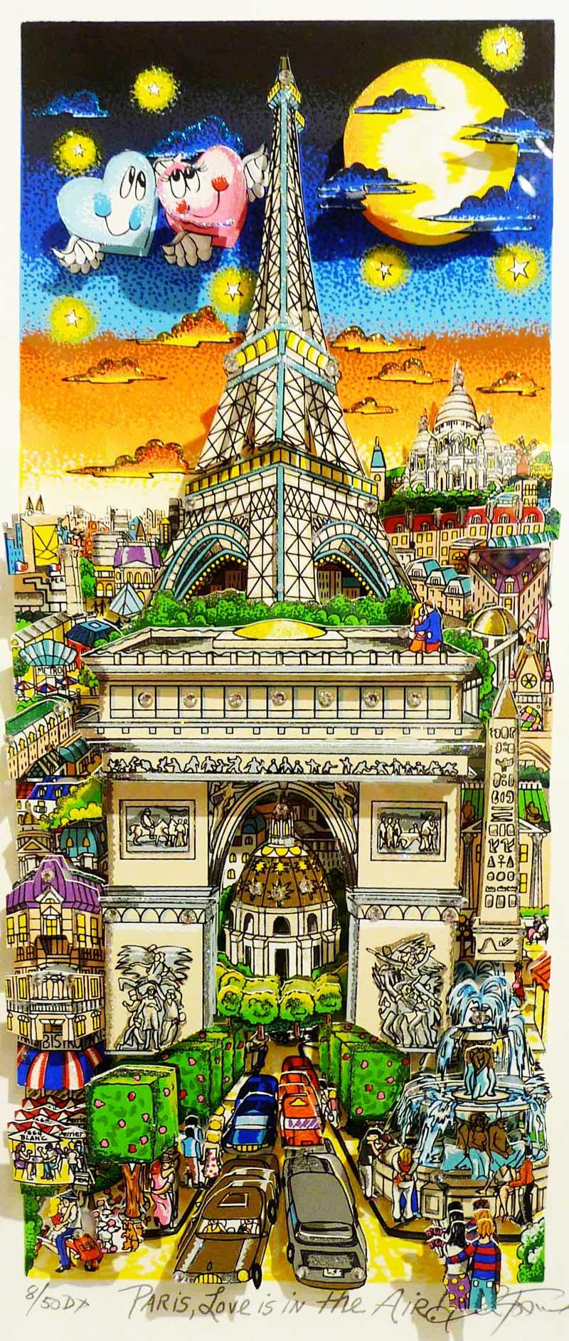 Charles Fazzino - Paris,-Love-Is-In-The-Air---59x41-cm