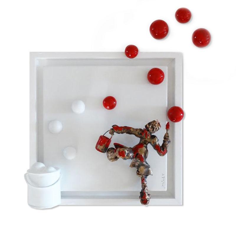 Bernard Saint Maxent - Une Touche rouge - 50x50cm