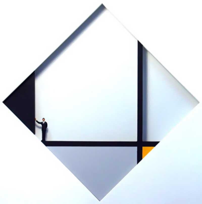 Volker Kühn - hommage à Piet Mondrian - Black-corner - Art in Boxes