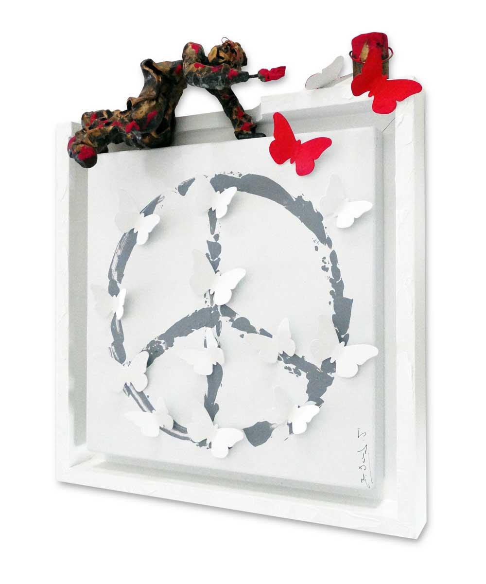 Bernard Saint Maxent - Peace and butterflies - 40x40cm