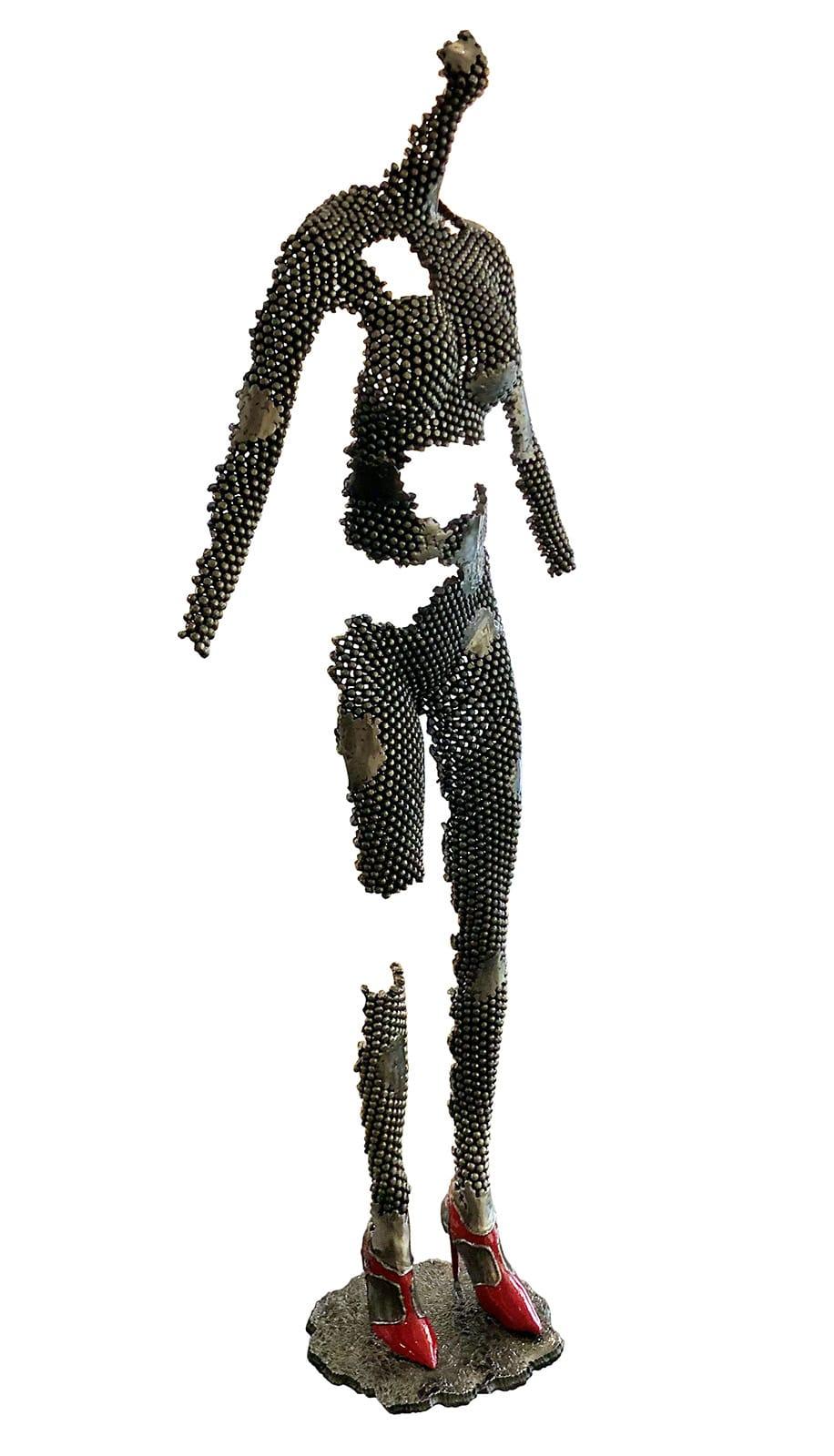 sculpture buste acier