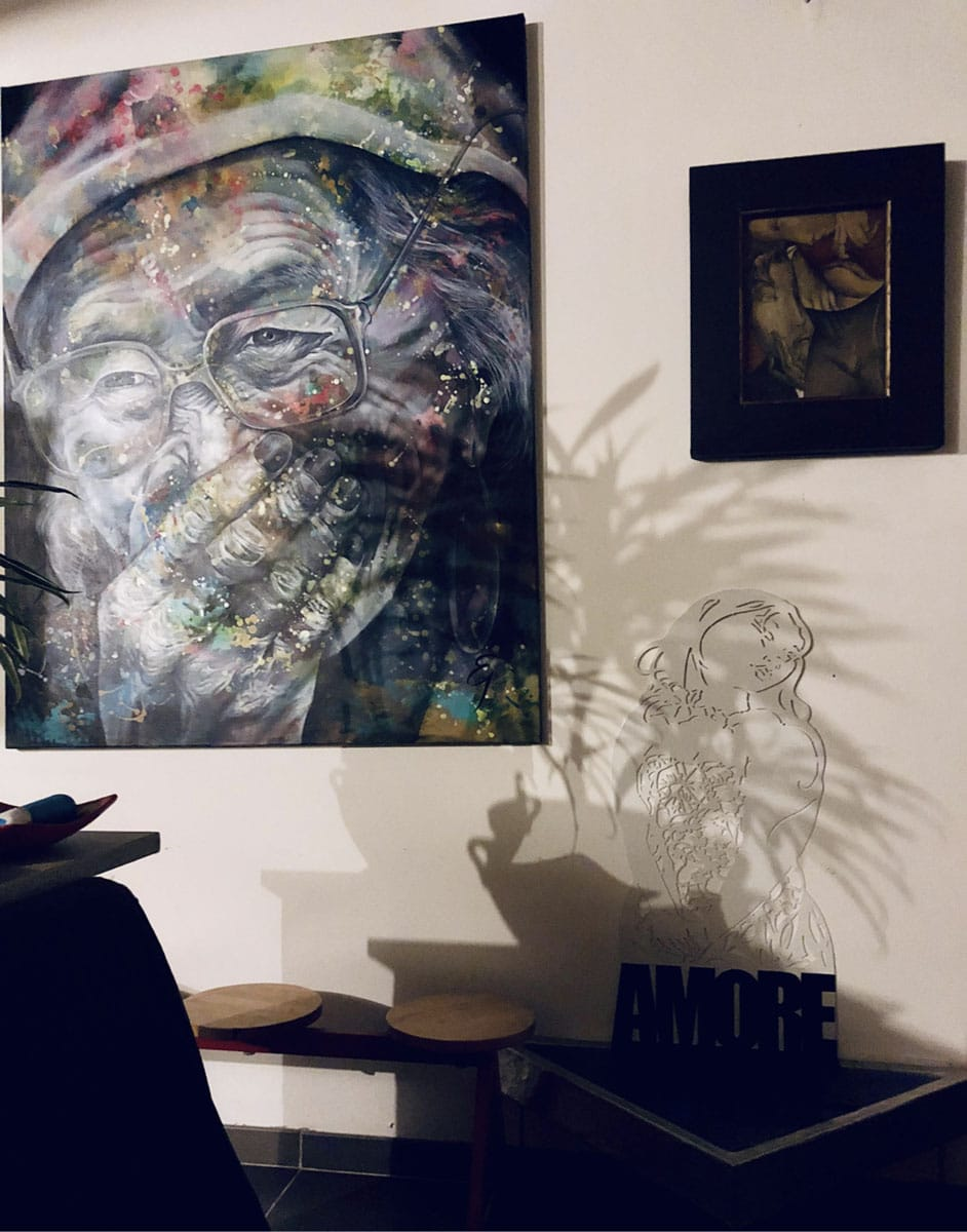 portrait acrylique artiste elaura